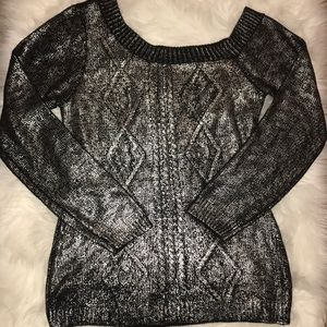 Sweaters - Metallic silver/ blk off the shoulders sweater